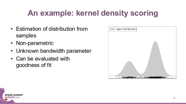 An example: kernel density scoring • Estimation of distribution from samples • Non-parametric • Unknown bandwidth paramete...