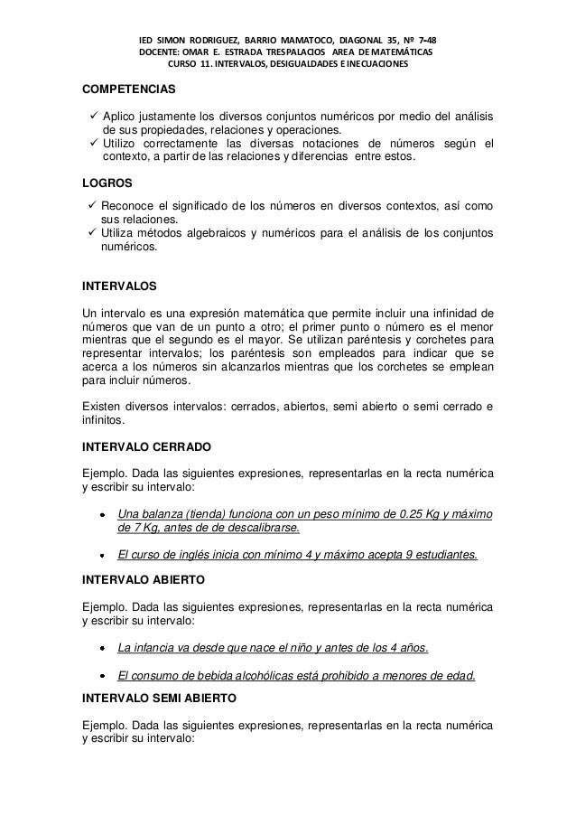 IED SIMON RODRIGUEZ, BARRIO MAMATOCO, DIAGONAL 35, Nº 7‐48          DOCENTE: OMAR E. ESTRADA TRESPALACIOS AREA DE MATEMÁTI...