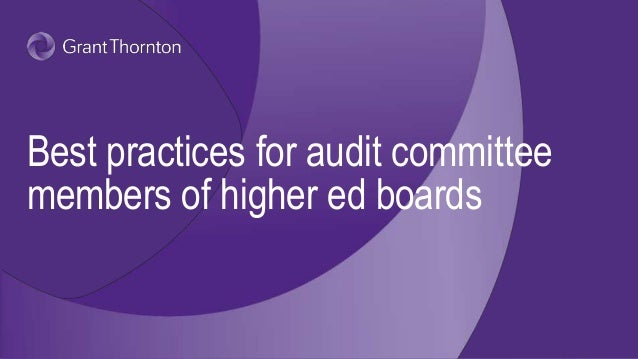 Best practices for audit committee members of higher ed boards
