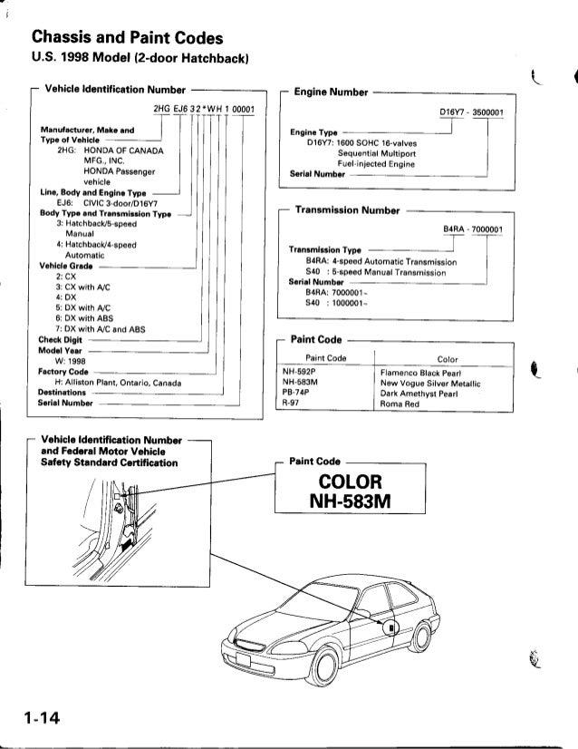 1 honda civic factory service manual us 1997 rh slideshare net Honda D16 Crank Bearing Honda D16 Crankshaft