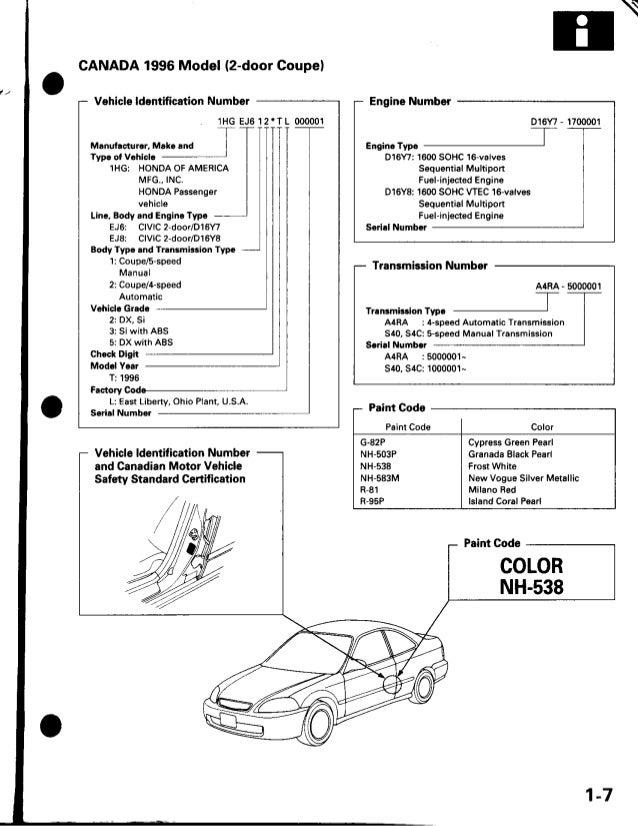 1 honda civic factory service manual us 1997 rh slideshare net D15 Honda Engine Valve Lash Honda D16 Crank Bearing