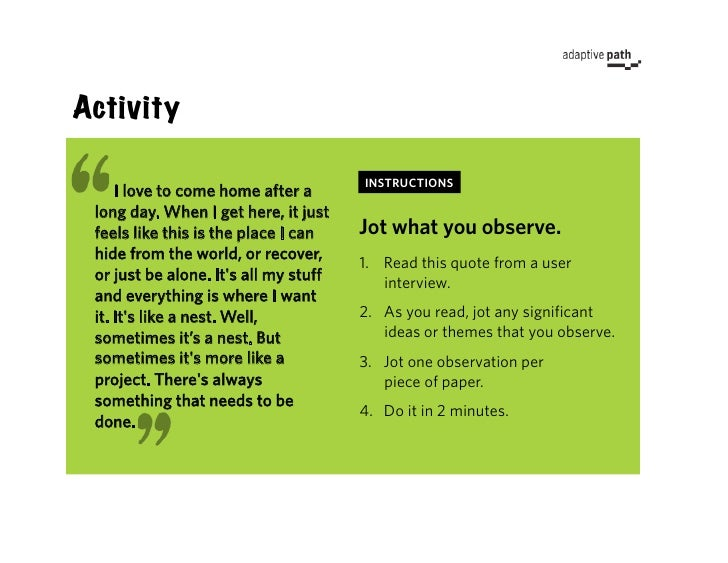 Activity                                         INSTRUCTIONS      I love to come home after a  long day. When I get here,...
