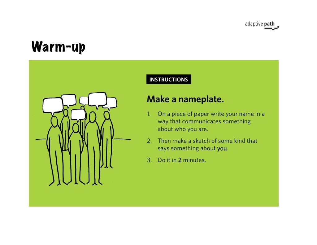 Warm Up Instructions Make A Nameplate