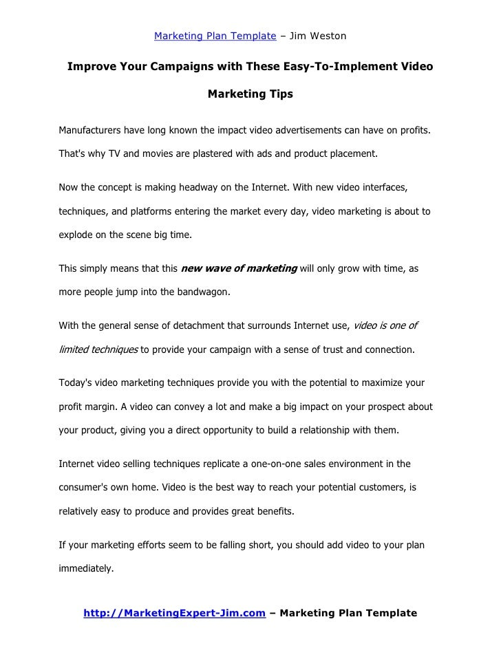 online marketing campaign template - online video marketing plan template