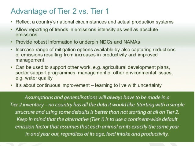 Advantage of Tier 2 vs. Tier 1 • Reflect a country's national circumstances and actual production systems • Allow reportin...