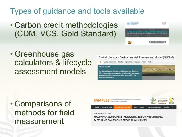 Types of guidance and tools available • Carbon credit methodologies (CDM, VCS, Gold Standard) • Greenhouse gas calculators...