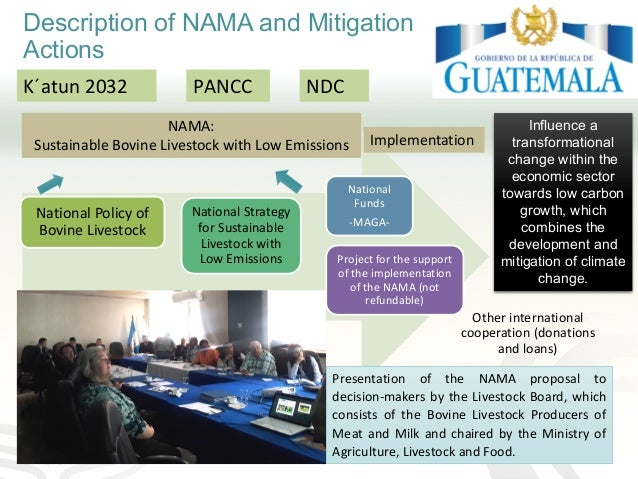 Description of NAMA and Mitigation Actions K´atun 2032 NDCPANCC Influence a transformational change within the economic se...