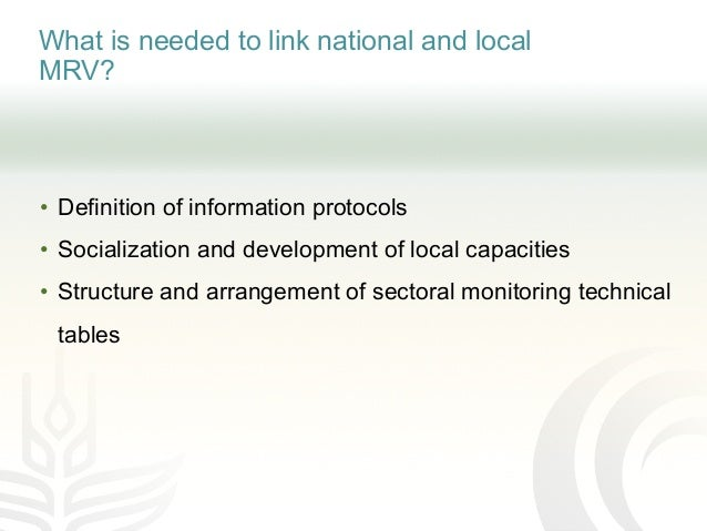 What is needed to link national and local MRV? • Definition of information protocols • Socialization and development of lo...