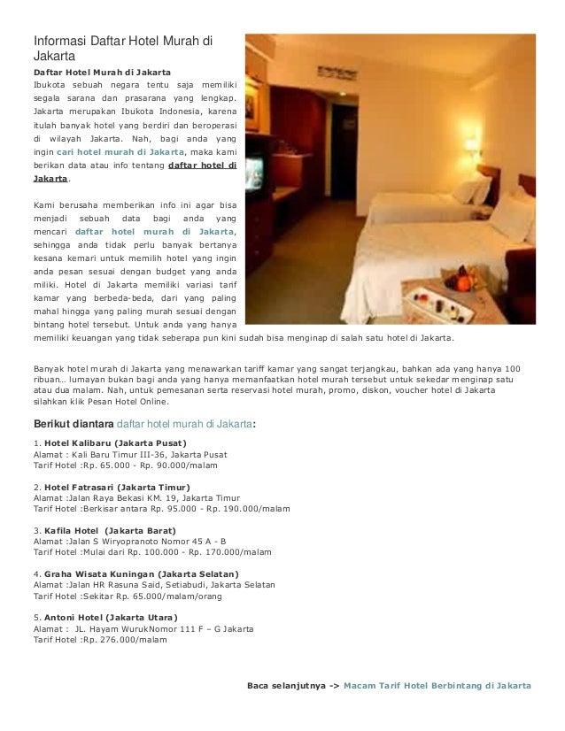 Informasi Daftar Hotel Murah Di Jakarta Ibukota Sebuah Negara Tentu Saja