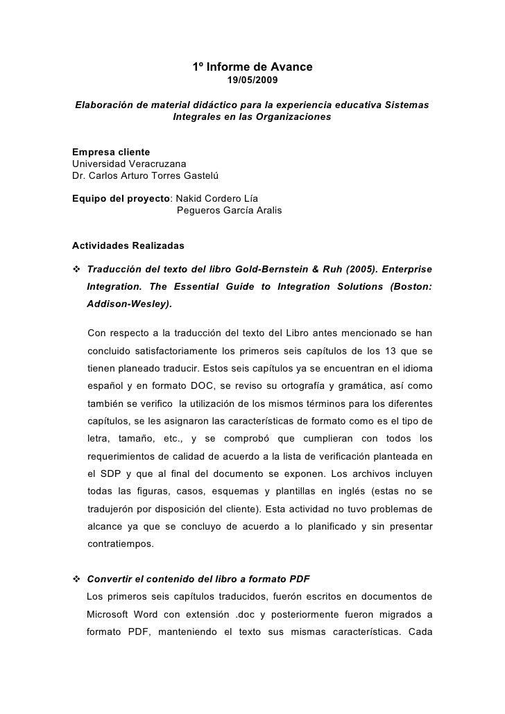 1º Informe de Avance                                    19/05/2009  Elaboración de material didáctico para la experiencia ...