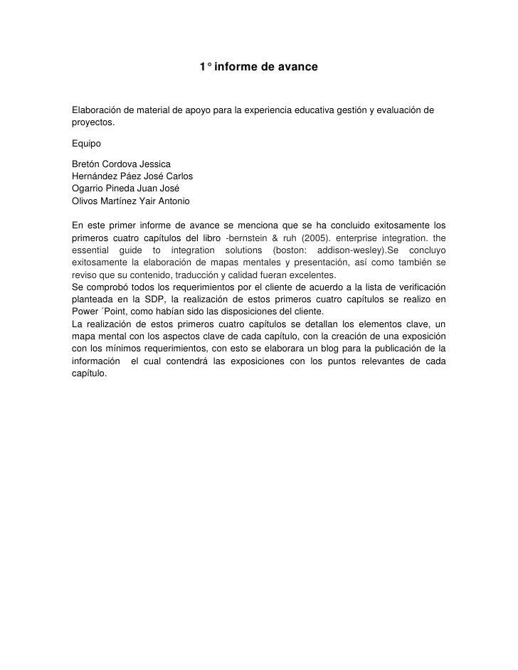 1° informe de avance<br />Elaboración de material de apoyo para la experiencia educativa gestión y evaluación de proyectos...