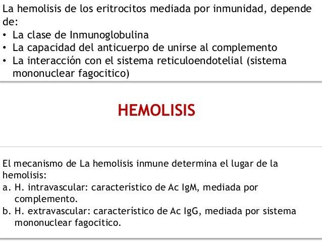HEMOLISIS La hemolisis de los eritrocitos mediada por inmunidad, depende de: • La clase de Inmunoglobulina • La capacidad ...