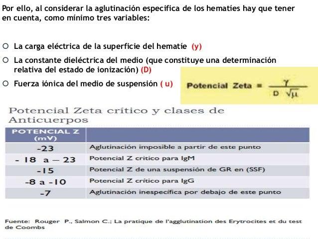 Por ello, al considerar la aglutinación especifica de los hematíes hay que tener en cuenta, como mínimo tres variables:  ...