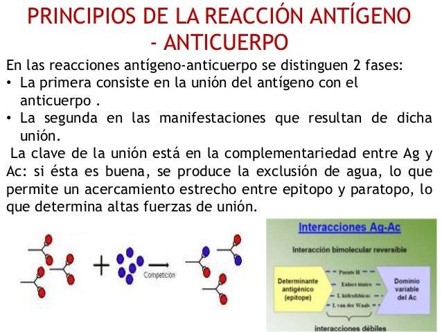 PRINCIPIOS DE LA REACCIÓN ANTÍGENO - ANTICUERPO En las reacciones antígeno-anticuerpo se distinguen 2 fases: • La primera ...