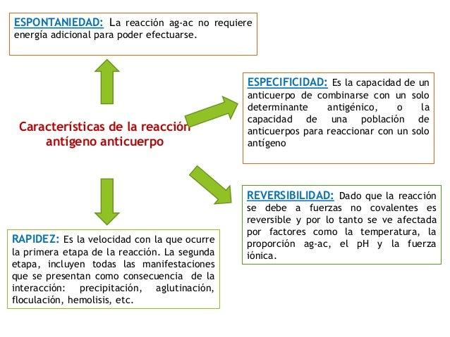 Características de la reacción antígeno anticuerpo REVERSIBILIDAD: Dado que la reacción se debe a fuerzas no covalentes es...