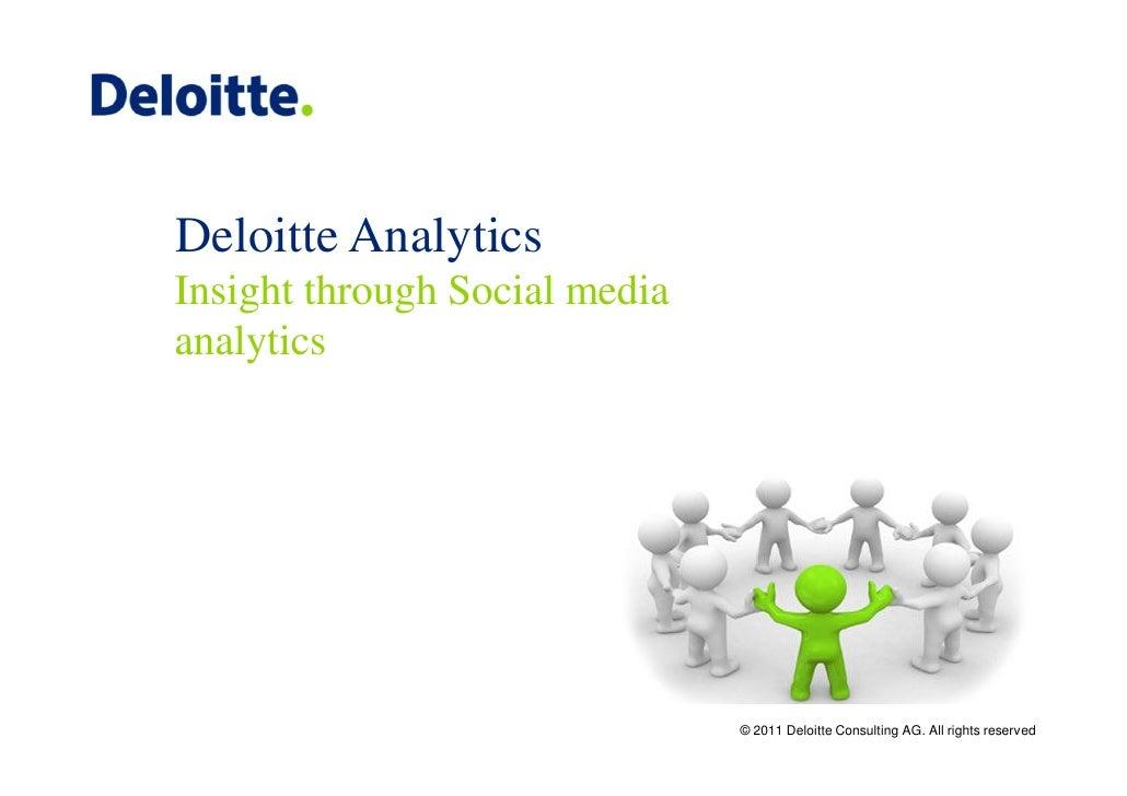 Deloitte AnalyticsInsight through Social mediaanalytics                               © 2011 Deloitte Consulting AG. All r...