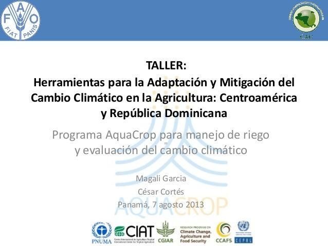 TALLER: Herramientas para la Adaptación y Mitigación del Cambio Climático en la Agricultura: Centroamérica y República Dom...