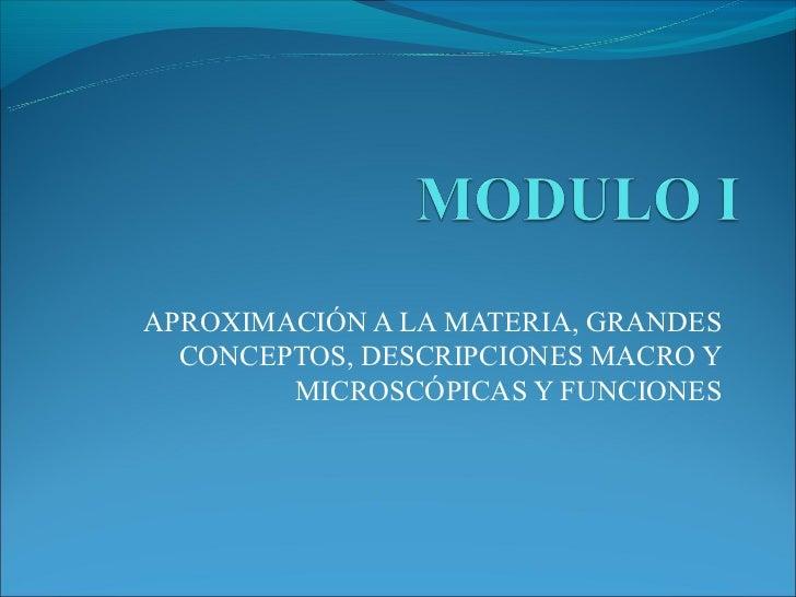 APROXIMACIÓN A LA MATERIA, GRANDES  CONCEPTOS, DESCRIPCIONES MACRO Y        MICROSCÓPICAS Y FUNCIONES