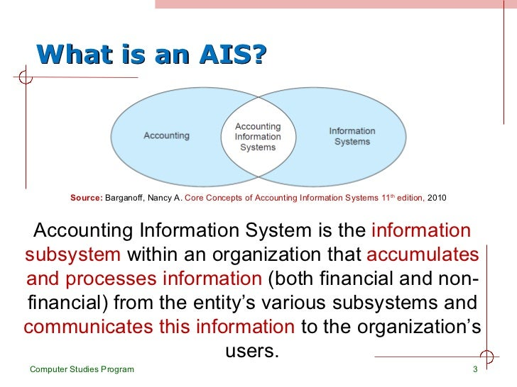 accounting information system ais essay The accounting information system 3-3 tip: an understanding of the following terms is important (1) event: a happening of consequence an event generally is the source or cause of changes in assets, liabilities.