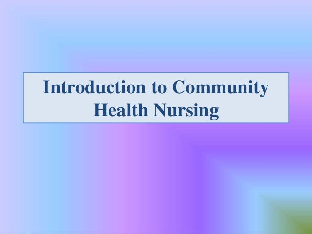introduction to community health nursing pdf
