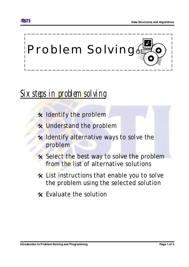 Data Structures and Algorithms    Problem SolvingSix steps in problem solving           @ Identify the problem           @...