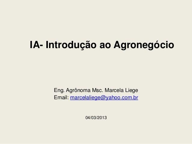 IA- Introdução ao Agronegócio    Eng. Agrônoma Msc. Marcela Liege    Email: marcelaliege@yahoo.com.br               04/03/...