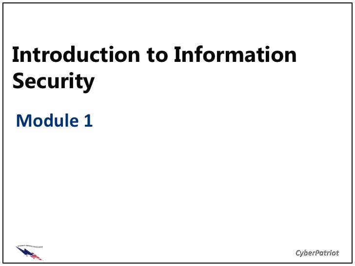 Introduction to InformationSecurityModule 1