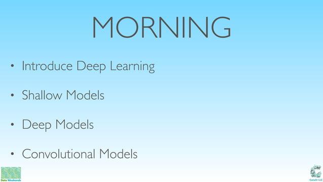 Catalit LLC MORNING • Introduce Deep Learning • Shallow Models • Deep Models • Convolutional Models