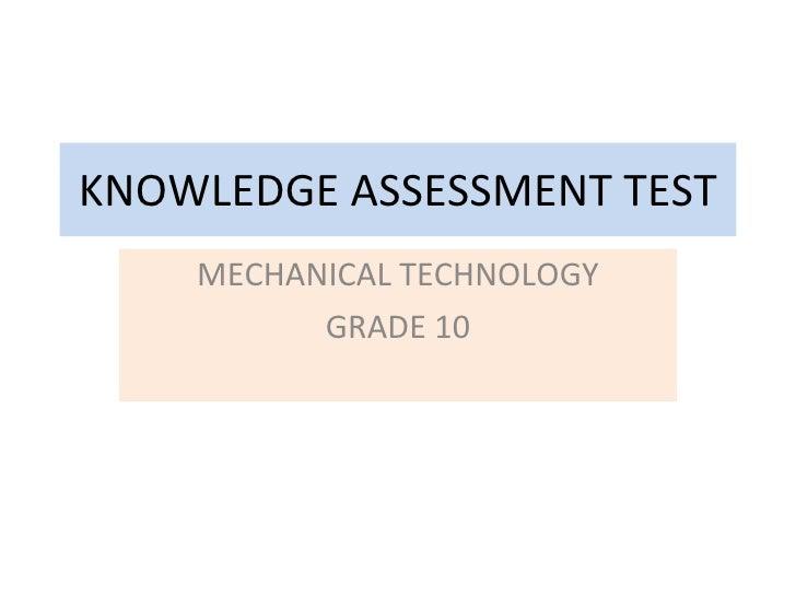 Mechanical Technology Grade 12 Chapter 1 Intro Test