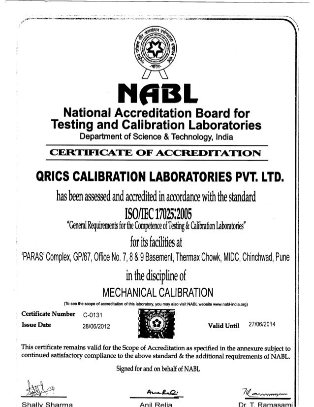 ^ * t NABL National Accreditation Board for Testing and Calibration Laboratories Department of Science & Technology, India...