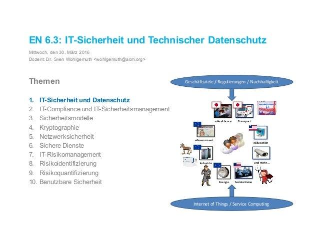 EN 6.3: IT-Sicherheit und Technischer Datenschutz Mittwoch, den 30. März 2016 Dozent: Dr. Sven Wohlgemuth <wohlgemuth@acm....