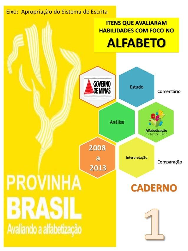 Estudo Comentário Análise Interpretação Comparação 2008 a 2013 ITENS QUE AVALIARAM HABILIDADES COM FOCO NO ALFABETO CADERN...