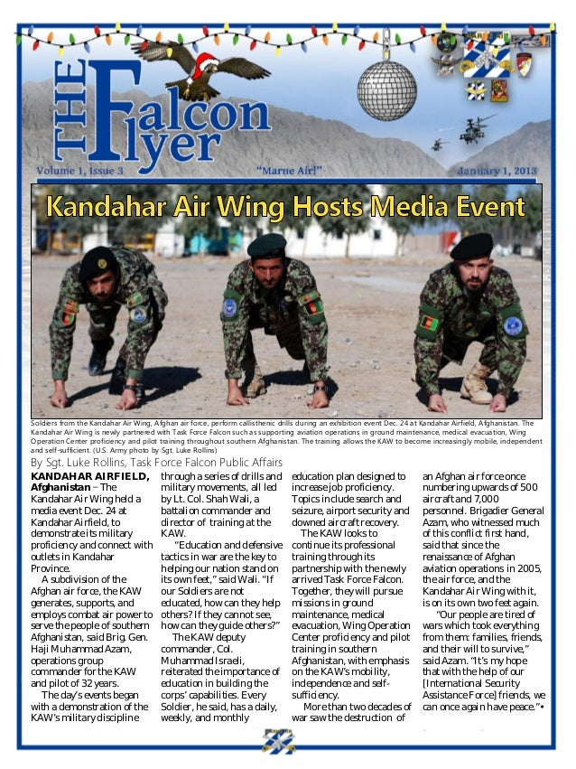 Soldiers from the Kandahar Air Wing, Afghan air force, perform callisthenic drills during an exhibition event Dec. 24 at K...