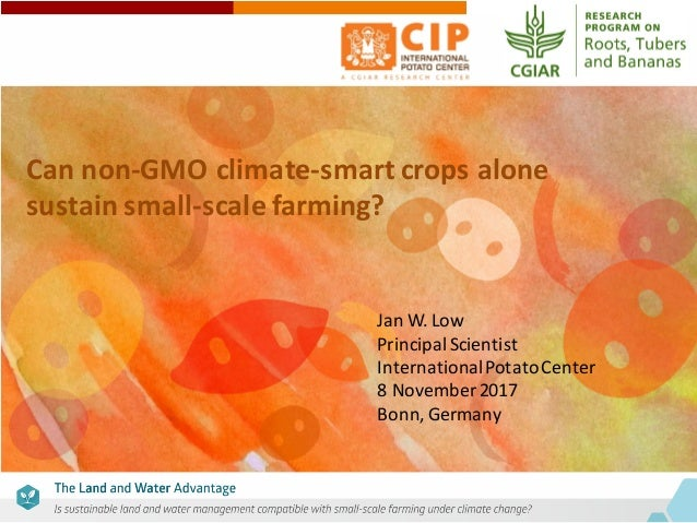 Can	non-GMO	climate-smart	crops	alone	 sustain	small-scale	farming?	 Jan	W.	Low Principal	Scientist International	Potato	C...
