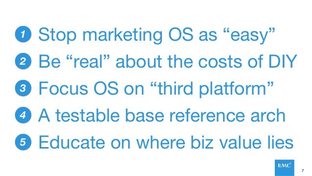 """7 1 2 3 4 5 Stop marketing OS as """"easy"""" Focus OS on """"third platform"""" A testable base reference arch Be """"real"""" about the co..."""