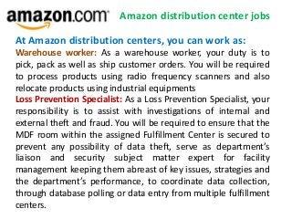 Amazon distribution center jobs