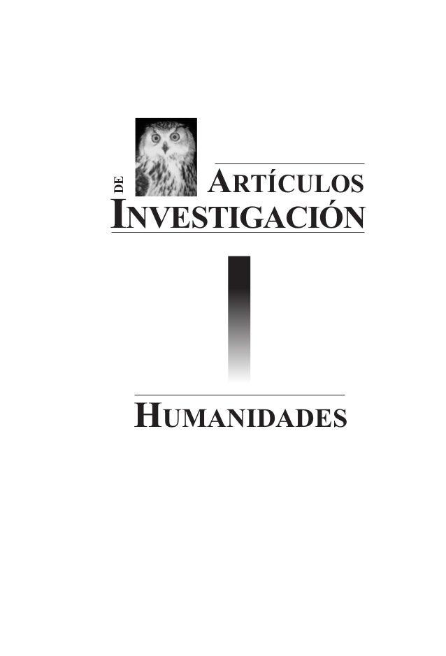 ARTÍCULOS INVESTIGACIÓN DE HUMANIDADES