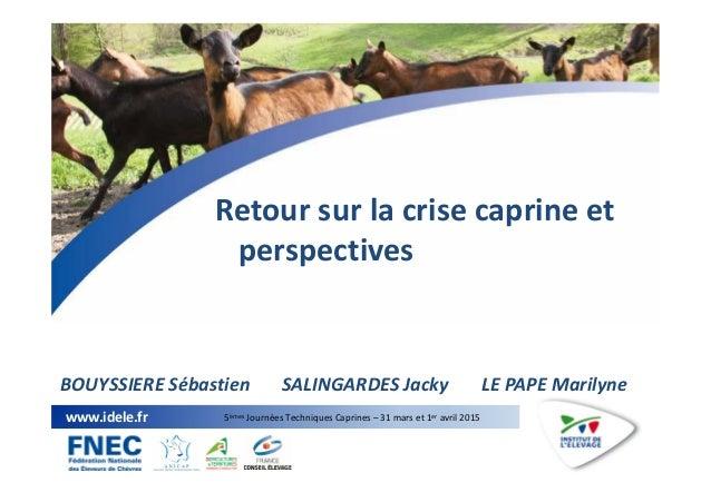 1 www.idele.fr 5èmes Journées Techniques Caprines – 31 mars et 1er avril 2015 Retour sur la crise caprine et perspectives ...