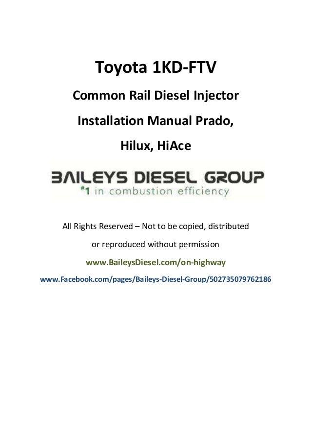 toyota 1kd ftv common rail diesel injector installation manual rh slideshare net