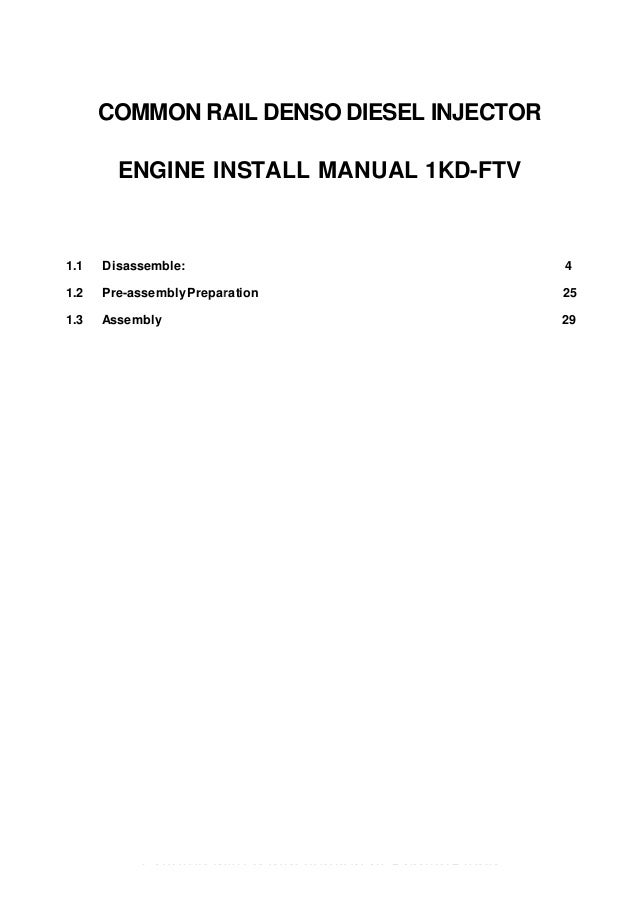 toyota 1kd ftv common rail diesel injector installation manual rh slideshare net 2008 hilux repair manual 2008 hilux owners manual