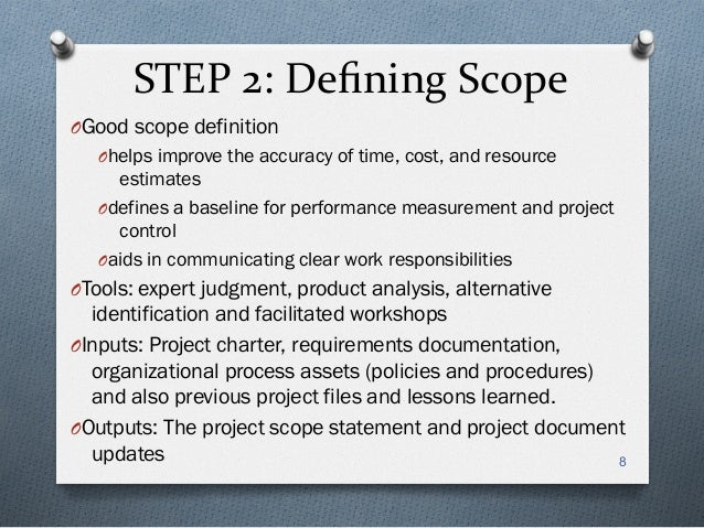 project scope and communication 7060 Project management chapters 4-6 in the project communications the project scope statement will frequently state what features and work elements are.