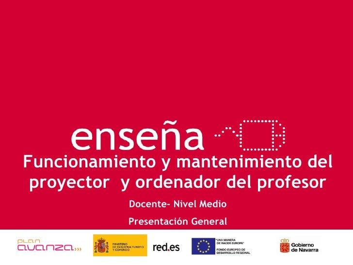 Funcionamiento y mantenimiento del proyector  y ordenador del profesor Docente- Nivel Medio Presentación General