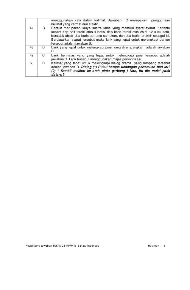 Jawaban Eyd 1 Kunci Dan Pembahasan Tukpd 2 Smp M Ts Bahasa Indonesia