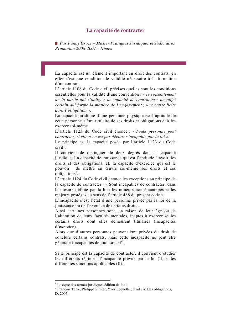 La capacité de contracter  Par Fanny Croze – Master Pratiques Juridiques et JudiciairesPromotion 2006-2007 – NîmesLa capac...