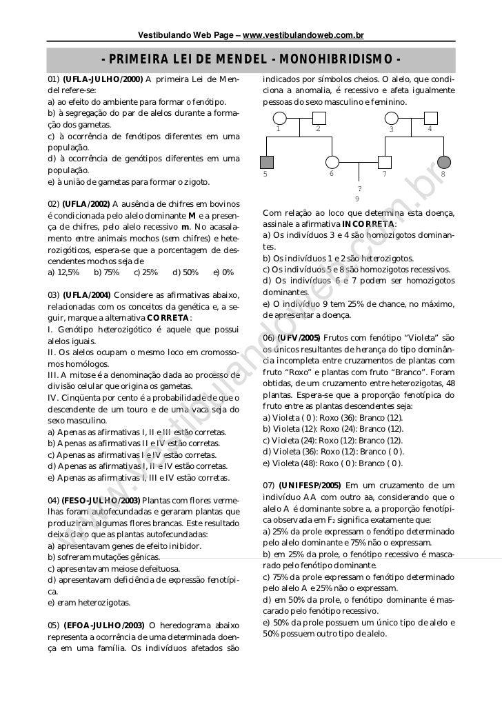Vestibulando Web Page – www.vestibulandoweb.com.br              - PRIMEIRA LEI DE MENDEL - MONOHIBRIDISMO -01) (UFLA-JULHO...
