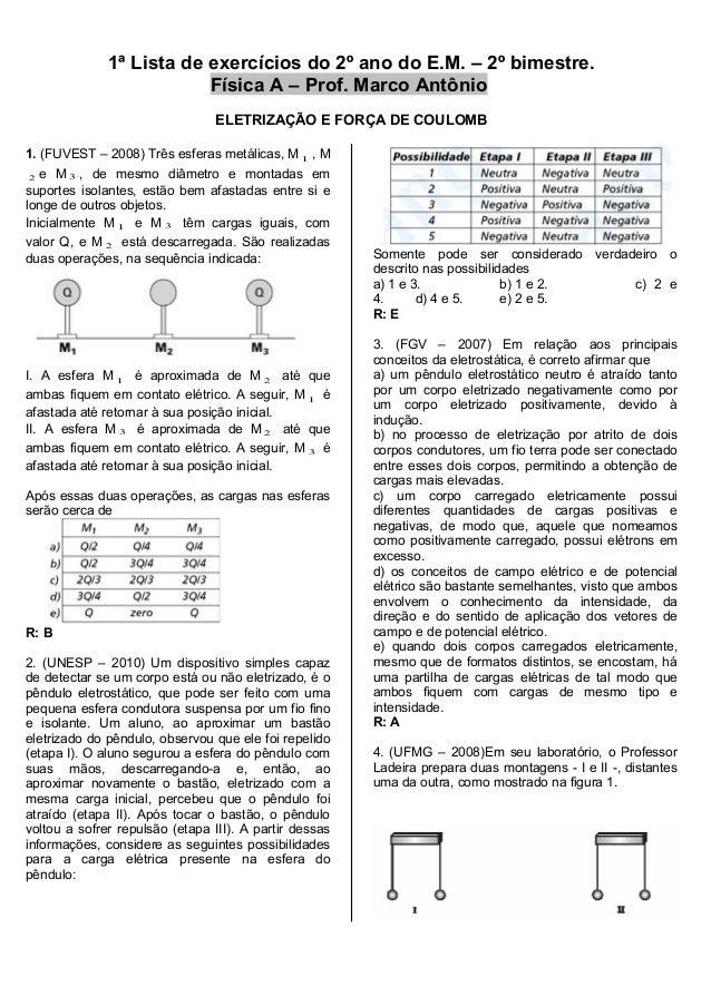 1ª Lista de exercícios do 2º ano do E.M. – 2º bimestre. Física A – Prof. Marco Antônio ELETRIZAÇÃO E FORÇA DE COULOMB 1. (...