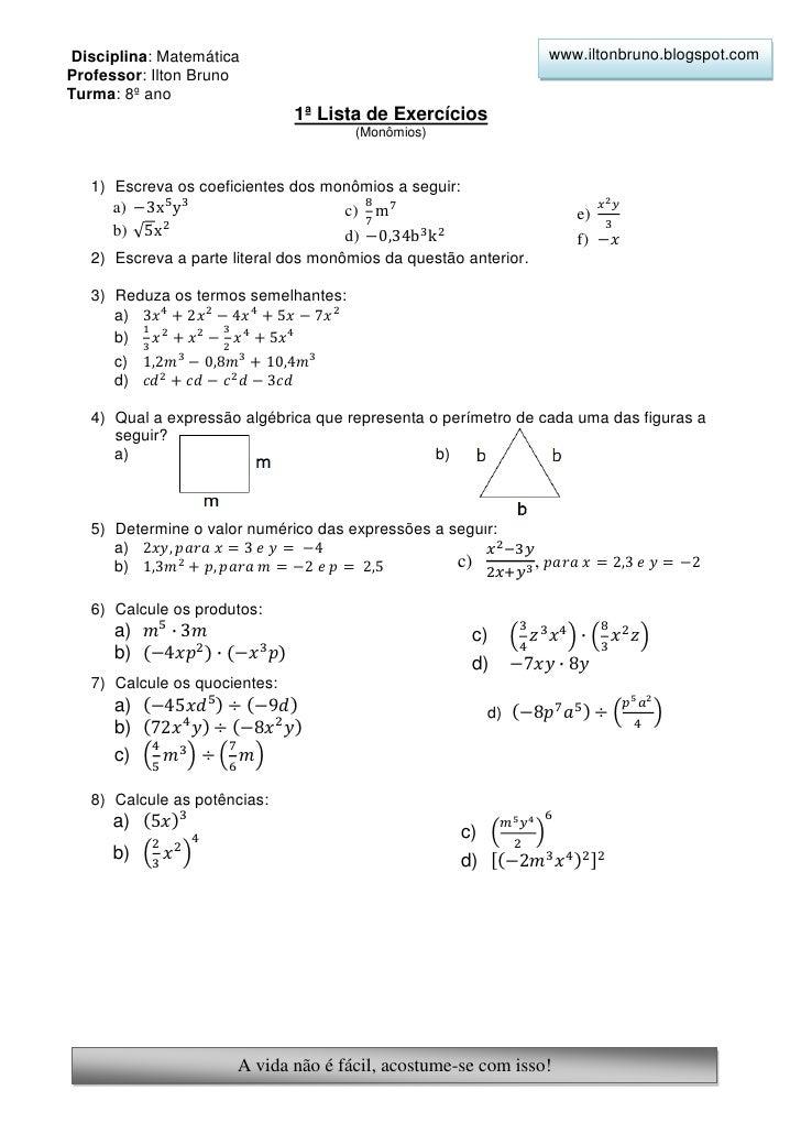 Disciplina: Matemática                                                www.iltonbruno.blogspot.comProfessor: Ilton BrunoTur...