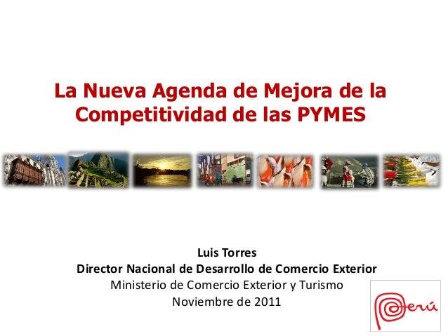 La Nueva Agenda de Mejora de la  Competitividad de las PYMES                       Luis Torres  Director Nacional de Desar...