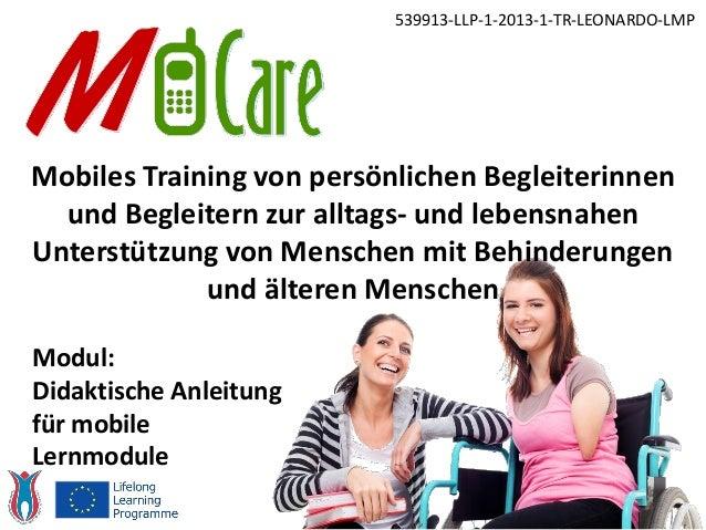 Mobiles Training von persönlichen Begleiterinnen und Begleitern zur alltags- und lebensnahen Unterstützung von Menschen mi...