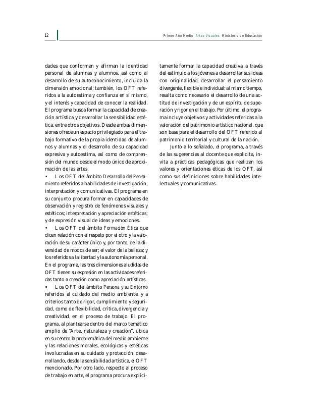 14 Primer Año Medio Artes Visuales Ministerio de Educación Unidades, contenidos y distribución temporal Cuadro sinóptico 1...